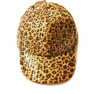 New Sequin Leopard Design Cap